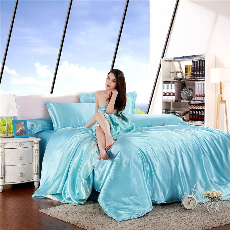 Tencel four sets of spring and summer bedding 1.5 silk four piece 1.8M solid bed linen bedding