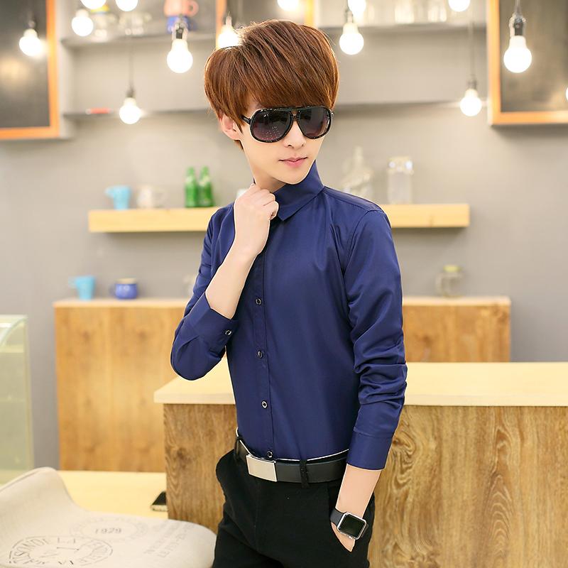 单件深蓝长袖衬衫