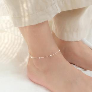 小麋人银饰简约圆珠球球可爱灵巧S925纯银脚链气质配饰脚绳日韩女