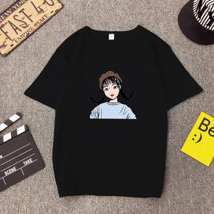 N学生班服潮夏季新款宽松复古港味辫子少女印花短袖T恤