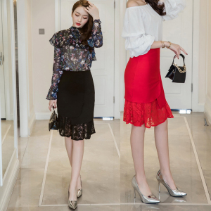 新款半身裙蕾絲魚尾裙包臀短裙女夏高腰中長款包裙鉛筆一步裙