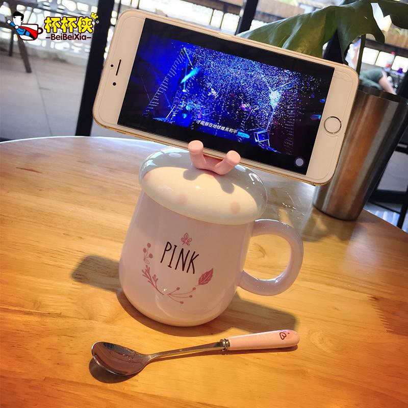 杯子陶瓷创意马克杯带盖勺情侣水杯学生茶杯卡通可爱咖啡杯牛奶杯
