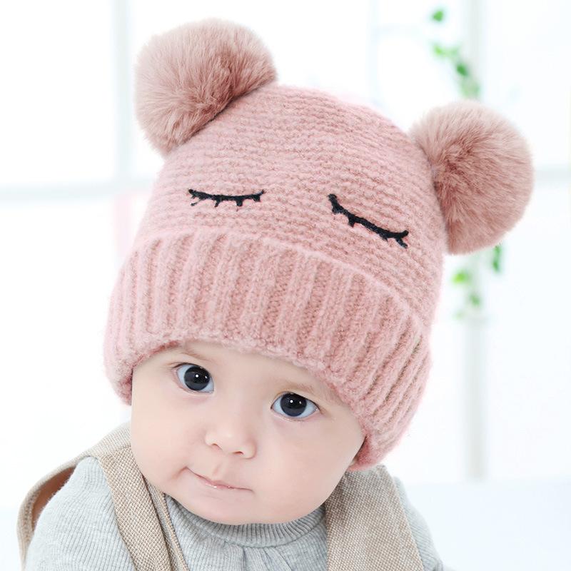 女宝宝帽子秋冬季3-6-12个月双毛球小孩男女童公主婴儿针织毛线帽