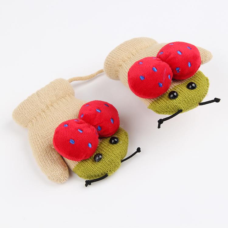 儿童手套保暖可爱冬季1-2男童女童加绒包全指3岁小孩婴儿宝宝加厚