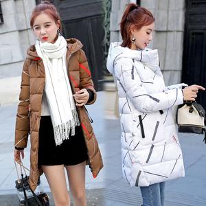 韩版冬季加厚羽绒棉衣女中长款修身印花连帽棉袄棉服保暖外套236
