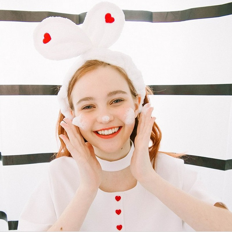 The new ins wash hair band embroidery love rabbit ears mask lovely scarf simple Korean makeup Headband