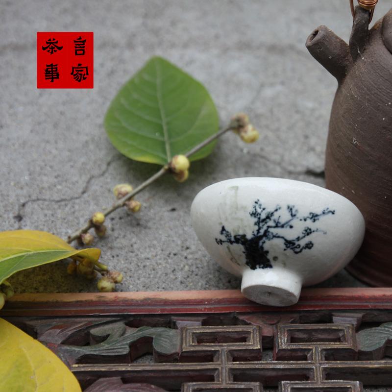 梅樁 純手工拉胚手繪青花釉下彩茶杯山水人物繡球花禪意圖多個選