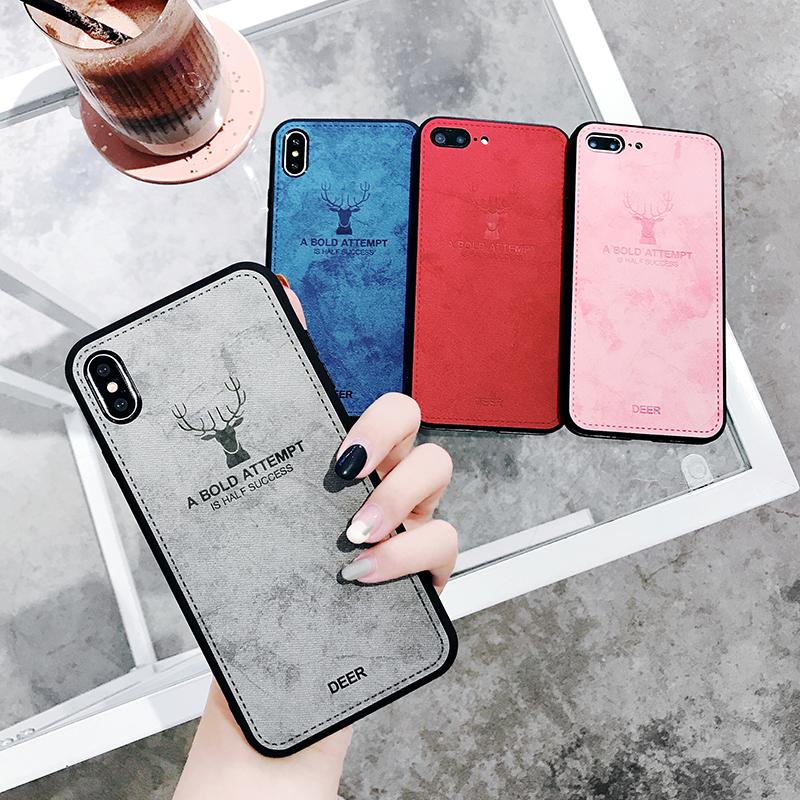 布纹皮质圣诞麋鹿头iPhoneX手机壳7/8plus苹果Xs/max硅胶软壳情侣