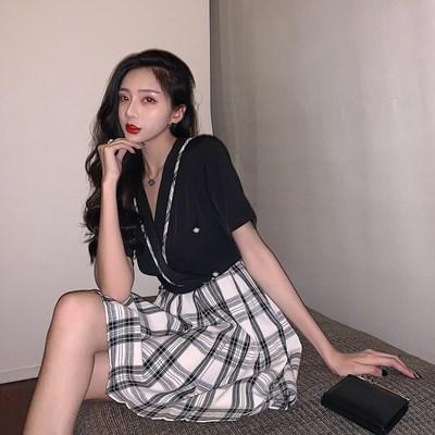 实拍现货8406~港味复古智熏法式桔梗撞色格子显瘦连衣裙