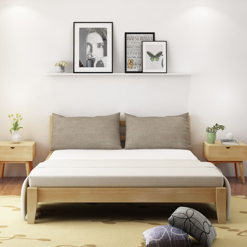 Solid wood bed, Nordic Chinese style solid wood and soft double bed, 1.8 meters and 1.5 meters bedroom furniture