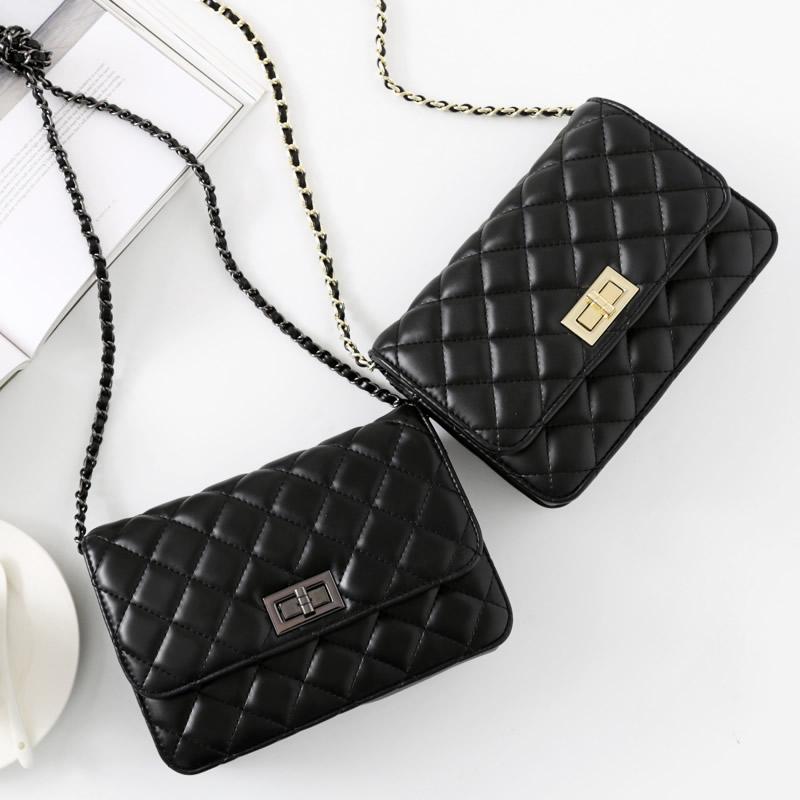 欧美时尚2017新款小香风菱格链条包小羊皮单肩斜挎女包真皮小包包