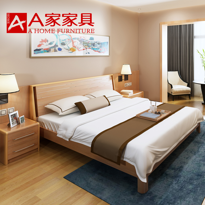 A furniture simple solid wood bed, 1.8 meters 1.5 Nordic log bedroom suite furniture, simple modern double bed