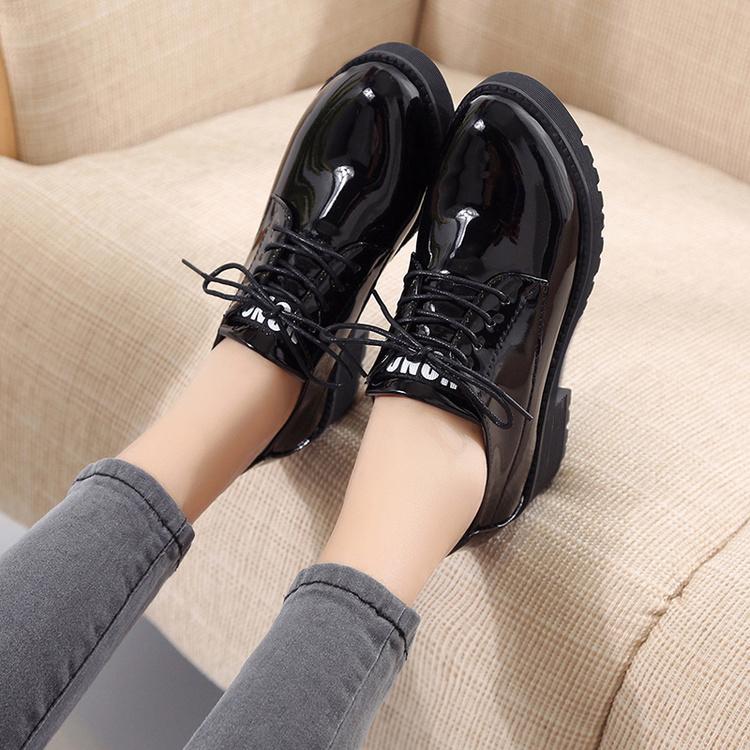 原宿小皮鞋女ulzzang潮秋季韓版學生百搭棉鞋女鼕英倫風軟妹單鞋
