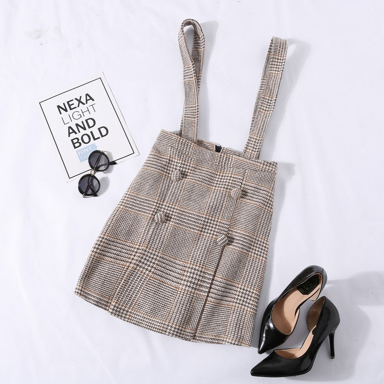 【錢夫人】CHINSTUDIO定制清新氣少女格紋呢料排扣背帶裙