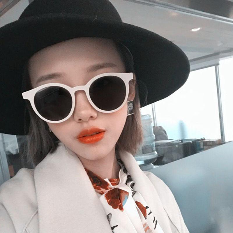 阿沁同款墨镜张大奕林小宅白色圆形复古小框网红明星韩版2018新款