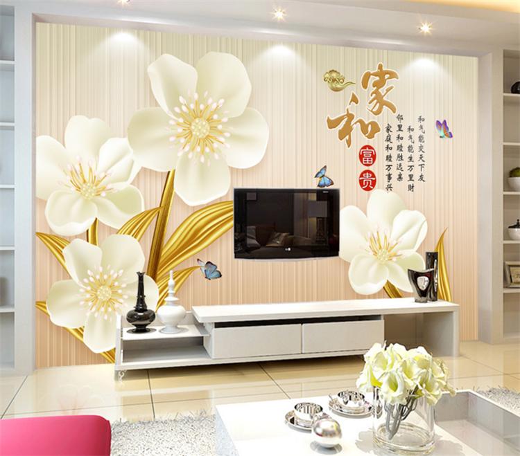 加厚無紡布/拼接大型3d立體壁畫壁紙歐式浮雕花卉新中式簡約珠寶5d墻紙電視背景墻