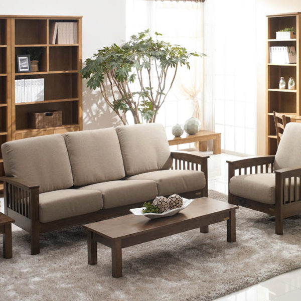 Solid wood sofa corner combination, single and double Chinese style originality, Nordic rubber wood modern simple small unit cloth sofa