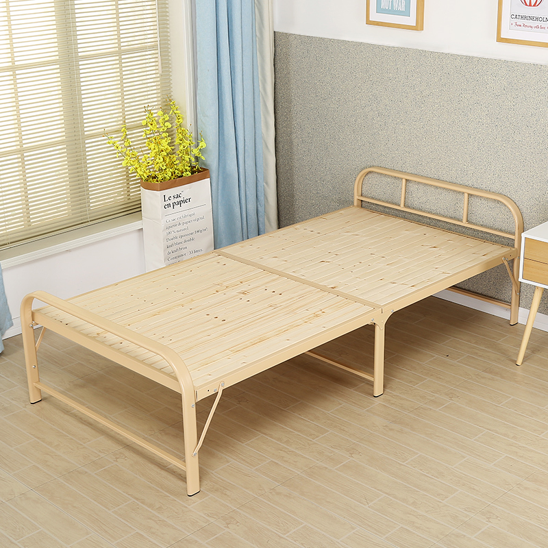 Solid wood portable, durable, simple camp bed, widened portable folding bed, rental house, lovers, single ladies, girls