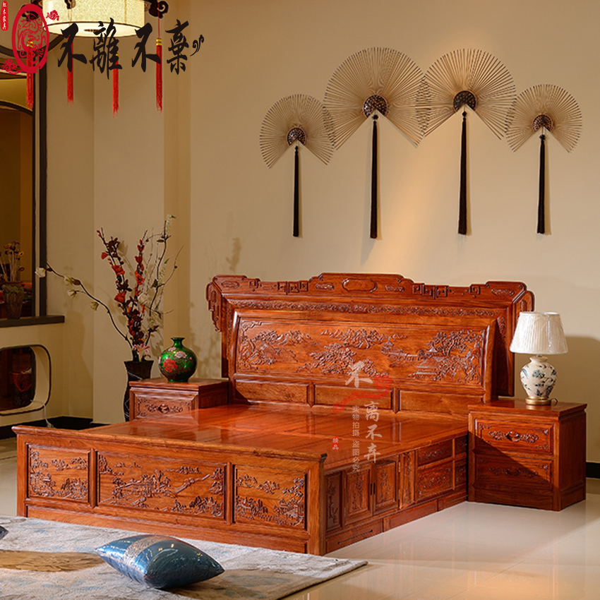 Rosewood furniture, all solid wood double bed bedroom furniture, Burma rosewood Chinese style, Ming and Qing Dynasties classic mahogany wedding bed