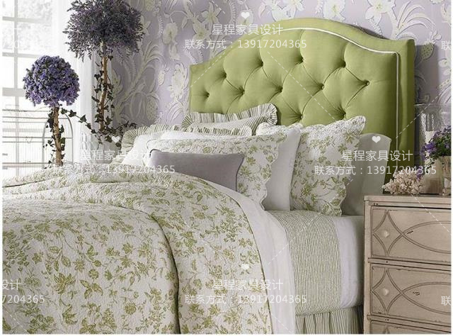 The new classical Club high-grade fabric soft pull double bed American French style simple European wedding bed bed