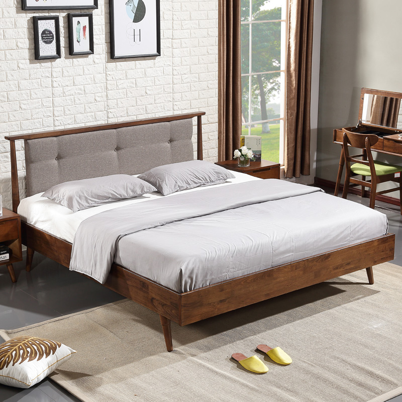 Nordic solid wood bed, 1.8 meters double bed, walnut small apartment, marriage bed, modern simple Japanese style fabric soft bed