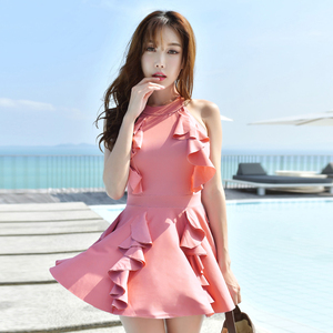 泳衣女保守大码泡温泉显瘦修身如厕小胸钢托聚拢平角学生泳装韩国