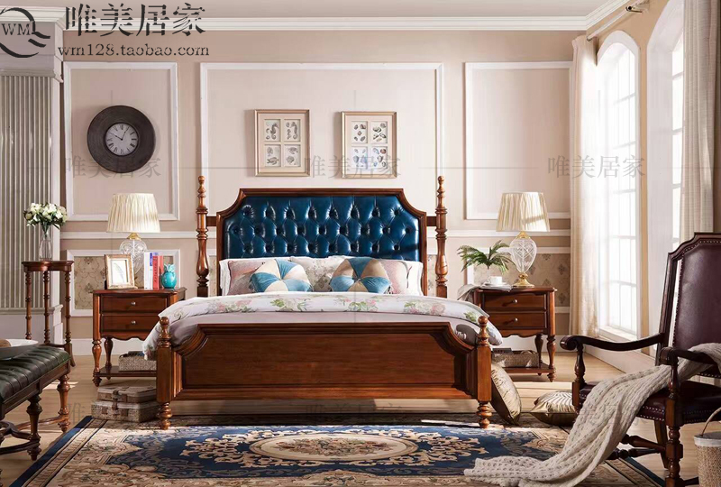 All solid wood bed 1.8 meters a soft layer of dermis bed double bed and bed high-grade pure solid wood bed