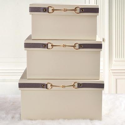 样板间衣帽间收纳箱 米白色皮质收纳盒 样板房收纳盒饰品摆件