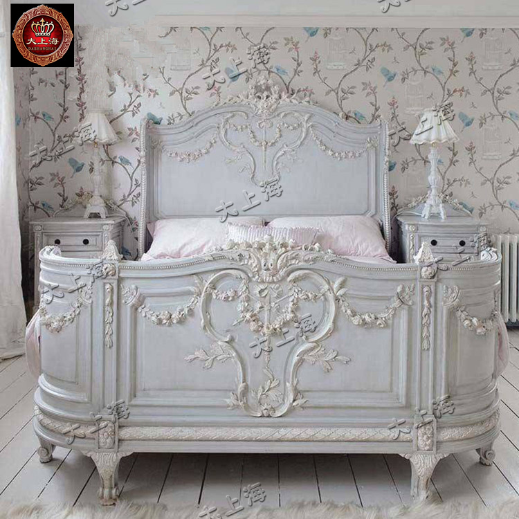 American wood bed European carving double Italy French Mediterranean retro wedding bed Jane wood bed
