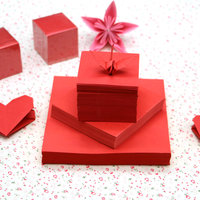 The red colored cardboard origami origami roses love square origami children origami material
