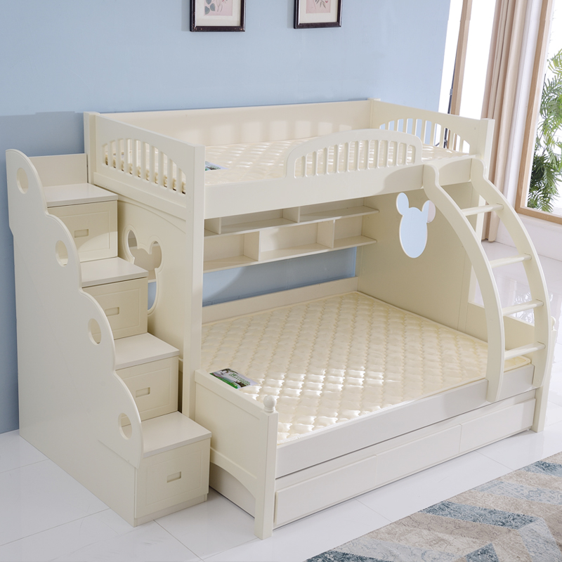 These children mother on the bed bed wood double bed bunk bed bunk bed adult multifunctional modern minimalist