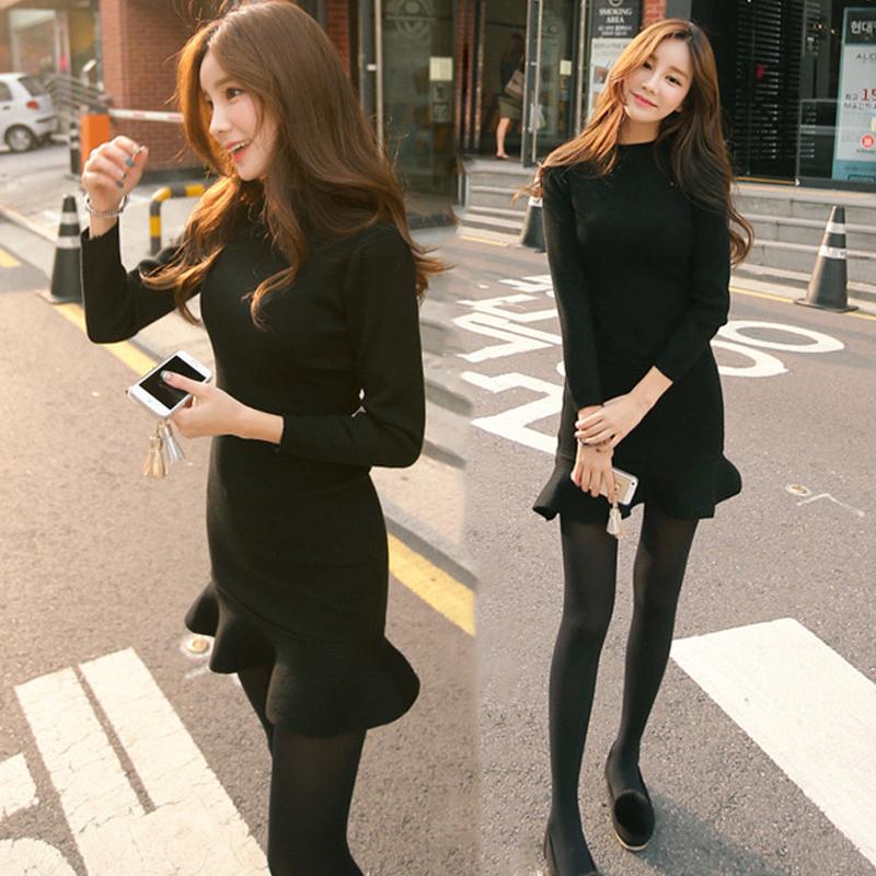 2017秋裝新款韓國修身包臀魚尾裙荷葉邊中長款打底針織連衣裙女鼕