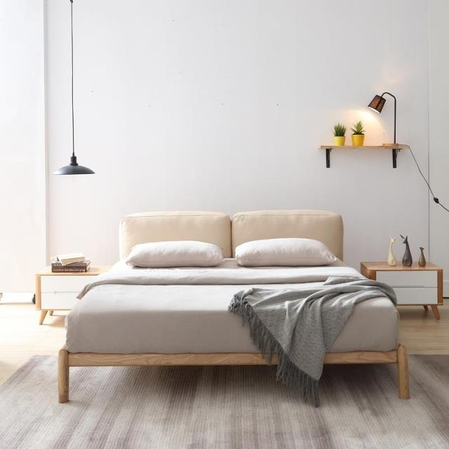 Solid wood bed modern minimalist wooden bed of 1.5 meters 1.8 meters double bed by bed bag leather soft wax