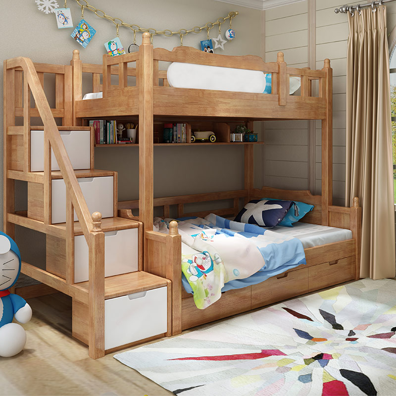 New all children bed top and bottom shop, mother bed multifunctional bedroom suite for children, high and low bed combination solid wood