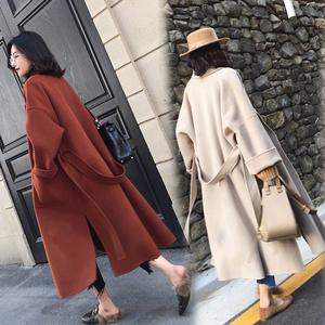 与凡2018新款加厚连帽大衣女中长款赫本风毛呢外套学生妮子韩版冬