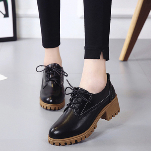 7系带小皮鞋女英伦风女鞋2019新款韩版百搭粗跟中跟学生单鞋潮