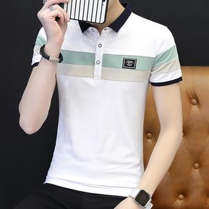 夏季新款翻领短袖polo衫时尚拼接休闲T恤衫男6605#