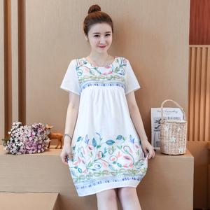 实拍8300孕妇装夏季纯棉刺绣哺乳连衣裙