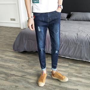 實拍N705#牛仔褲男春夏季新款韓版修身小腳褲青年男牛仔褲控價79