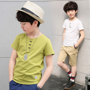 现货男童夏装短袖T恤纯棉新款儿童中大童韩版半袖白色体恤潮童装