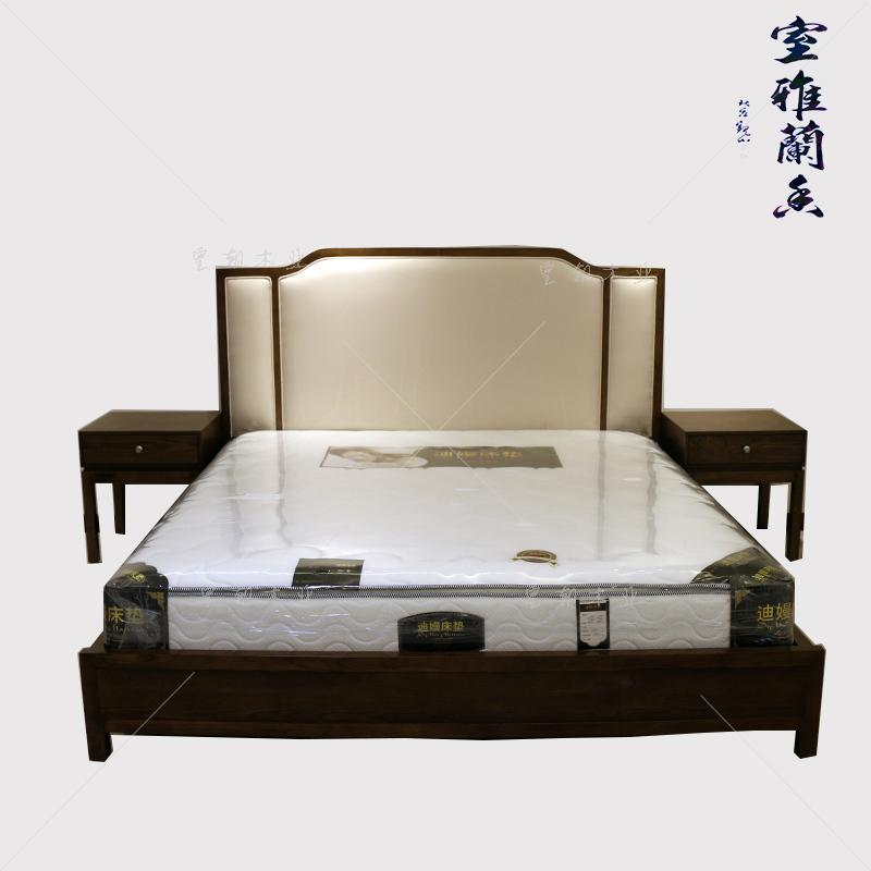Modern Chinese style bed 1.8 meters 1.5 storage solid wood bed leather wedding bed single bed double bed simple new Chinese