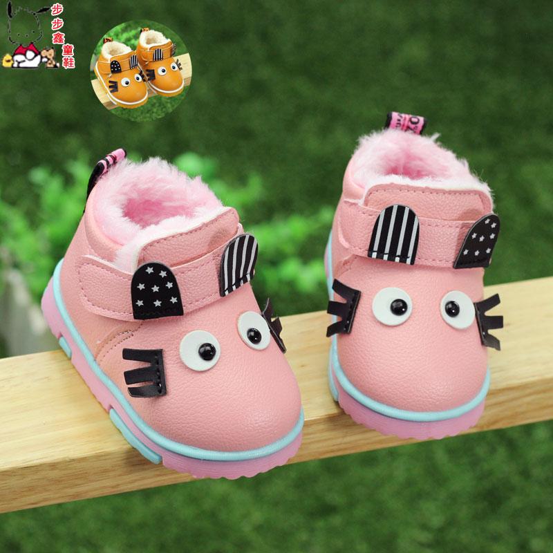 秋冬宝宝鞋子软底婴儿鞋男童学步鞋女童公主加绒棉鞋0-1-2岁3皮鞋