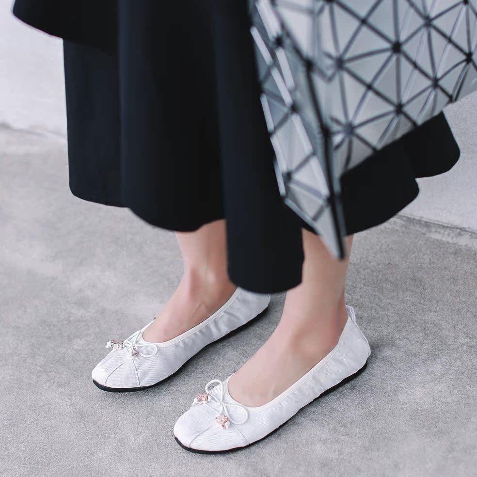 銀色35小p良品鋪 超舒適可折疊蛋卷鞋 圓頭淺口蝴蝶結平底休閑單鞋女