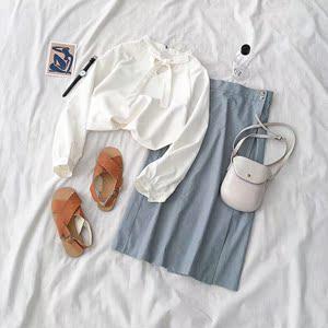 两件套装春季2019新款女装韩版系带衬衫松紧高腰半身裙子