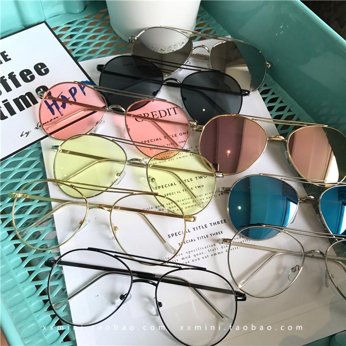 韩国GD权志龙TOP透明彩色太阳镜李小璐同款墨镜男女士眼镜潮