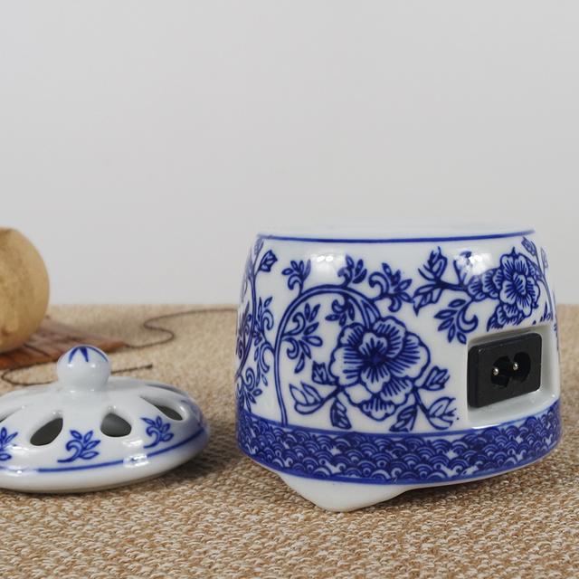 кадило кадильницу синий и белый с алой электронных Будда керамики электрические регулировки температуры печи старинное порошок сандалового дерева порошок электрической Ароматерапия печь