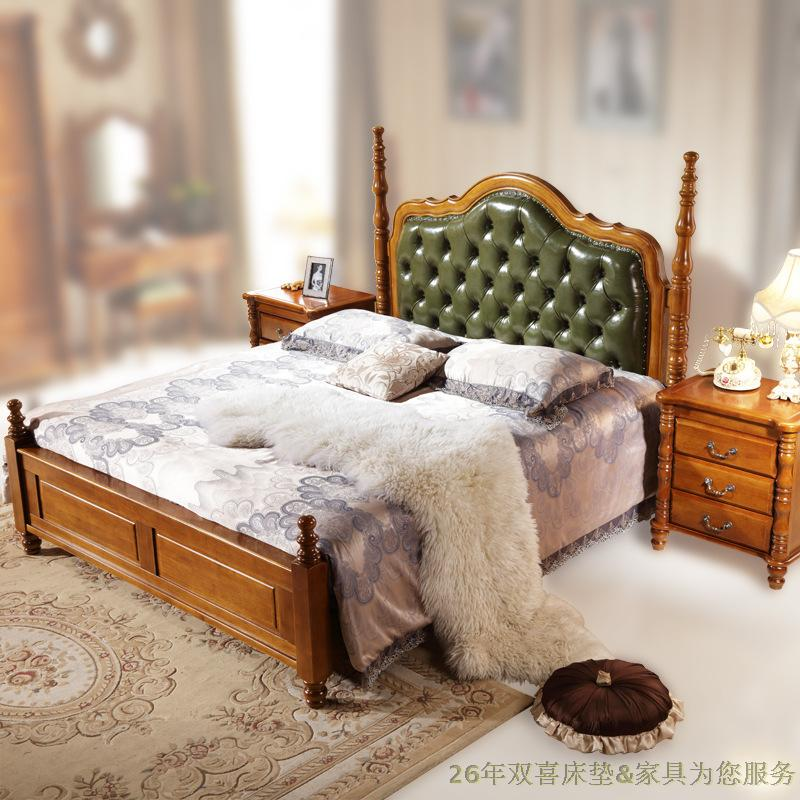 All solid wood bed American style country furniture, single bed, 1.5 meters special double bed, 1.8 meters high box oak small bed