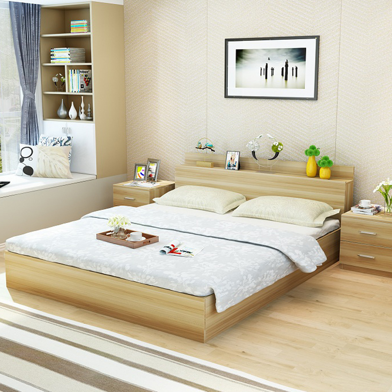 Modern simple double bed bed type 1.2 meters 1.5m1.8 economic master bedroom multifunctional storage storage bed