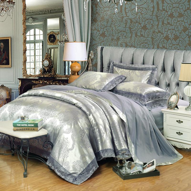 純欧綿マンネリ綿ベッド用品双単床笠ジャカードテンセル綿繻子式よんしよ件のベッドの上にセットされる4件人
