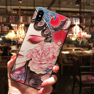 Chinese Ancient Phone Cases apple x mobile phone shell iphone7plus Peking Opera relief 8p 6s